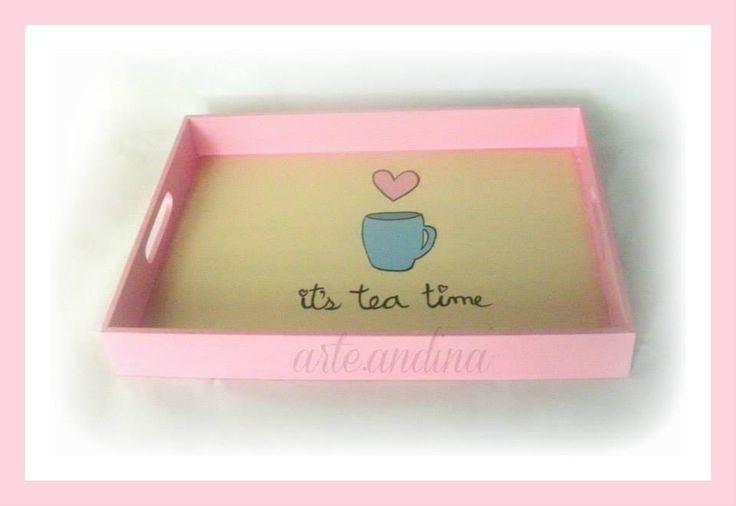 Wood Tray its tea time design