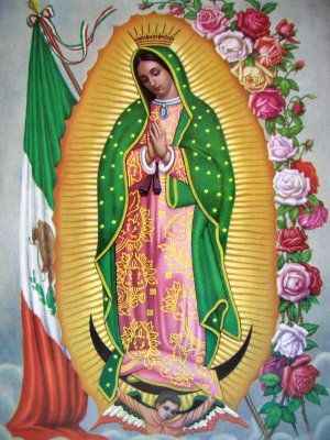 "Our Lady of Guadalupe with Mexican flag 8"" x 10"" Religious Print"