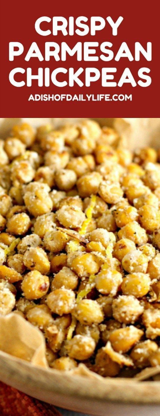 Snack healthy with these delicious Crispy Parmesan Chickpeas! Easy-to-make and delicious too!