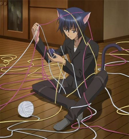 Ikuto from shugo Chara with yarn- so cute!