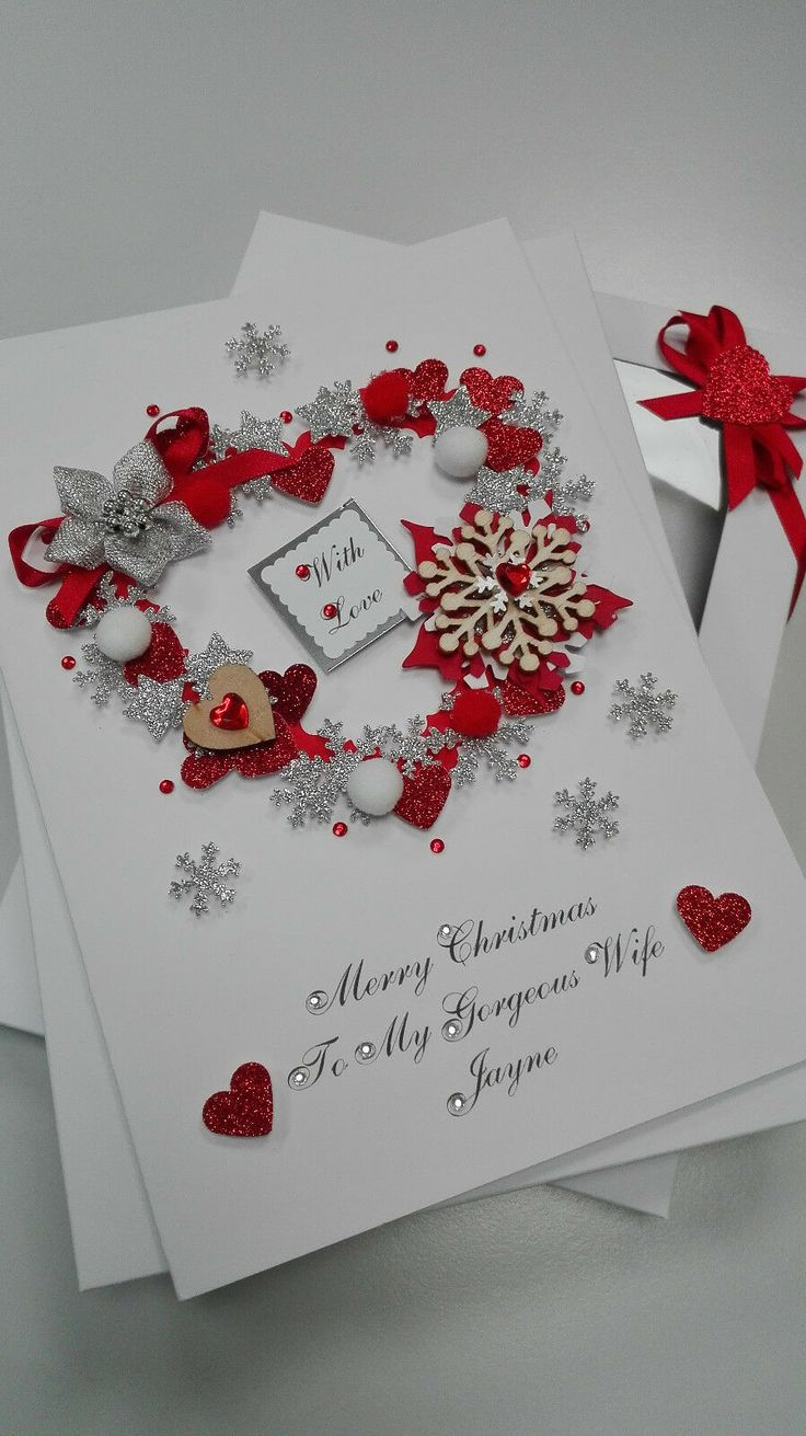 Luxury Personalised HANDMADE CARD Christmas MUM Dad WIFE
