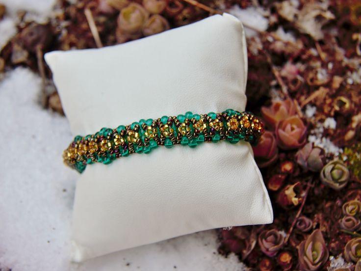 Green, brown & gold Beaded Bracelet