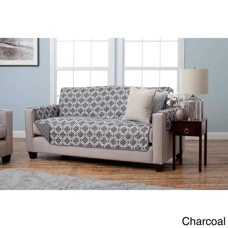 Home Fashion Designs Adalyn Collection Printed Reversible Sofa Protector (Charcoal), Grey