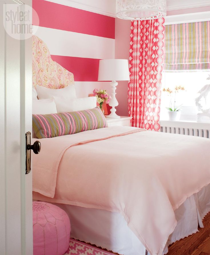 Three beautiful kids' bedroom designs, all with bold stripes.