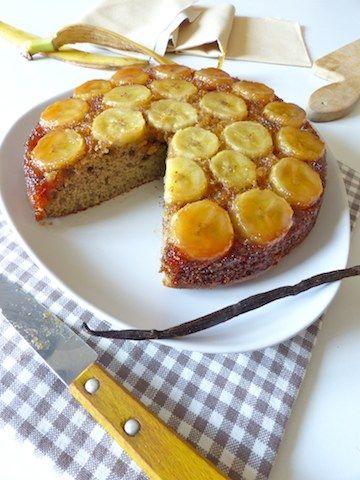 Gâteau sans gluten et sans beurre à la banane caramélisée (on peut faire la même chose avec des pommes)