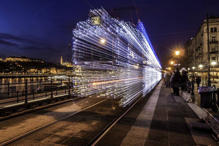 Long Exposure Photos of Budapest's Illuminated Christmas Streetcars