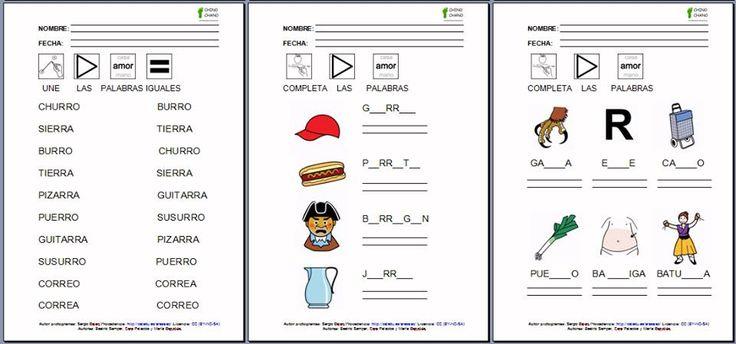 MATERIALES - Chino-chano - CONSONANTES: RR  Conjunto de fichas para el aprendizaje de la lectura y de la escritura.  http://arasaac.org/materiales.php?id_material=990