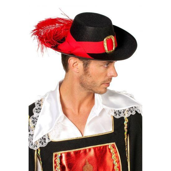 Voordelige musketiers hoed zwart. Mooie zwarte musketiers hoed voor volwassen. De musketier hoed is zwart van kleur met een rode band en lange rode veer. De maat van deze musketier hoed is ongeveer 58/59.
