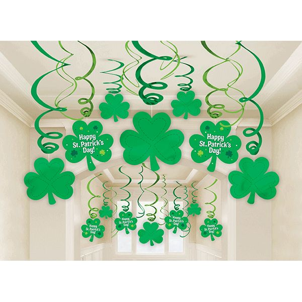 Fashion your house with these fun shamrock and swirl danglers for an instant party! The St. Patrick's Day Mega Swirl Value Pack includes green foil swirls, foil shamrocks, and paper shamrock cut-outs