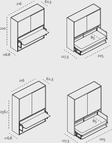 Poppi board - Camera da letto completa salvaspazio - Clei