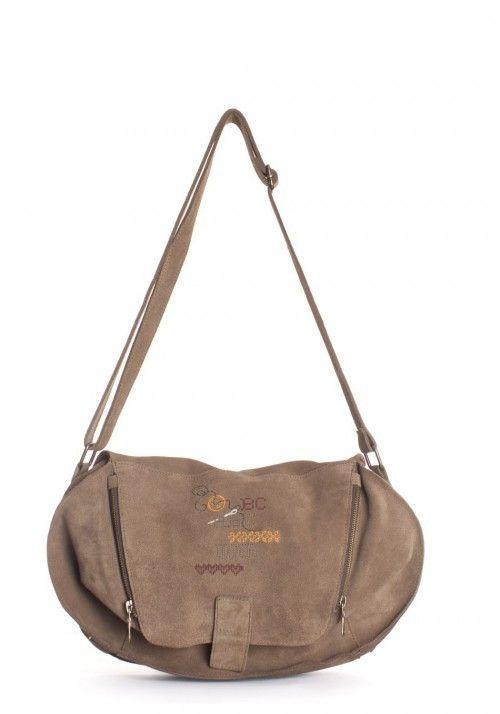 Mr. Postman Taupe- Bolso bandolera con tapa| Shoulder bag with cover| Sac bandouilière  devant Rabat perforée | Borsa a tracollo con  cerniere
