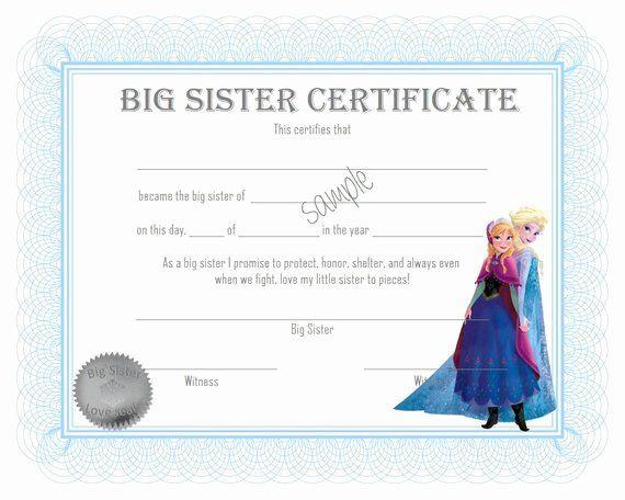 Free Printable Big Sister Certificate Elegant Unavailable Listing On Etsy Big Sister Frozen Inspired Free Printables