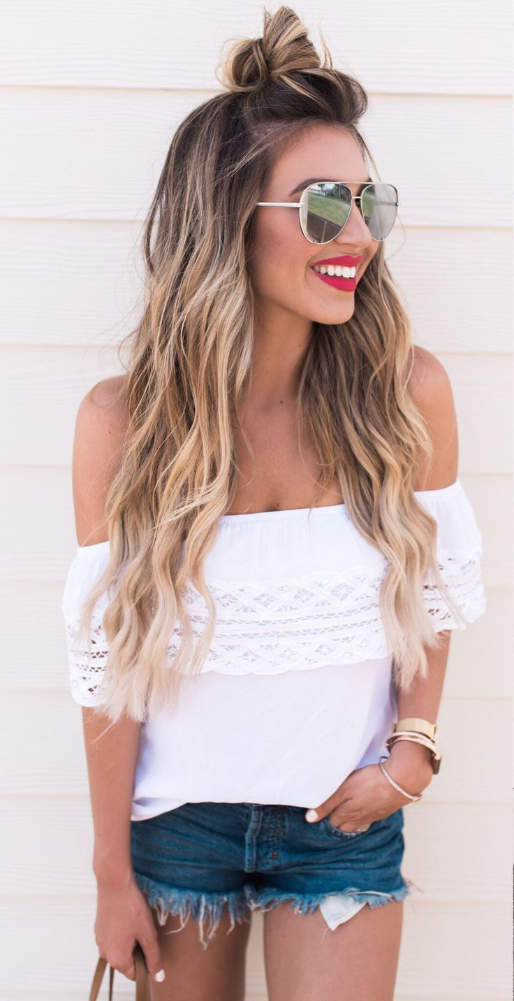 #summer #outfits White Off The Shoulder Top + Denim Short // Shop This Outfit in The Link