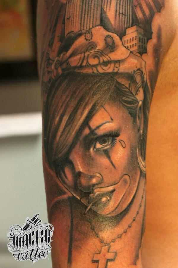 1000 images about tattoo on pinterest girl drawings for Chicano clown girl tattoos