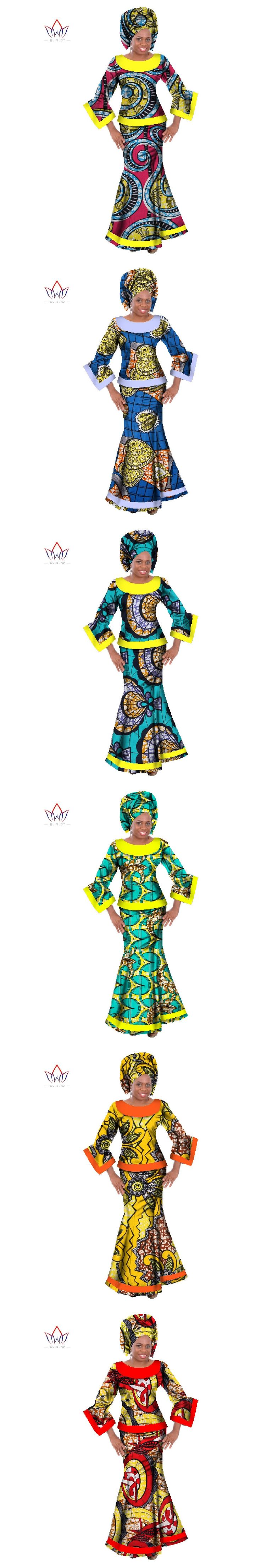 New Fabrics Plus Size Dashiki Women 2 Piece Sets Traditional African Clothing Crop Top and Skirts Bazin African Skirt Sets WY064