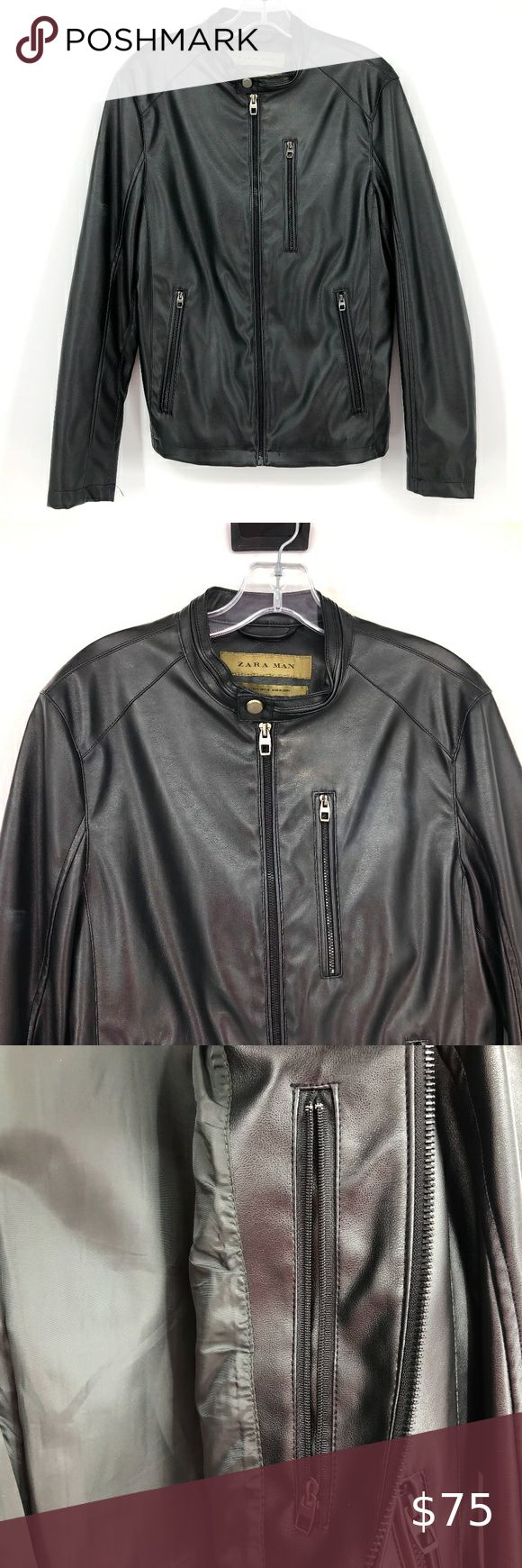 Zara Man Faux Leather Jacket in 2020 Faux leather