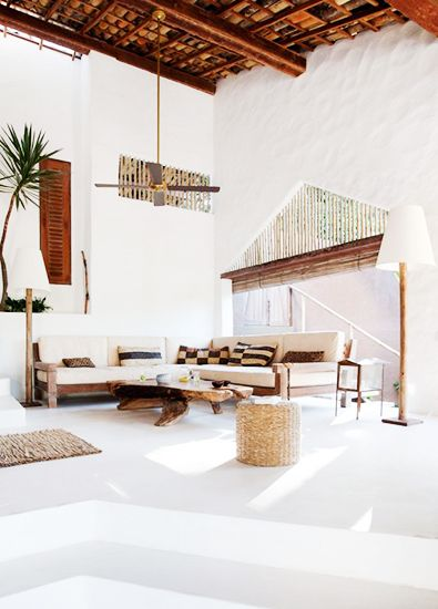 hand-woven textiles, natural wood beams, low-slung furniture.. the perfect mix.  #livingroom