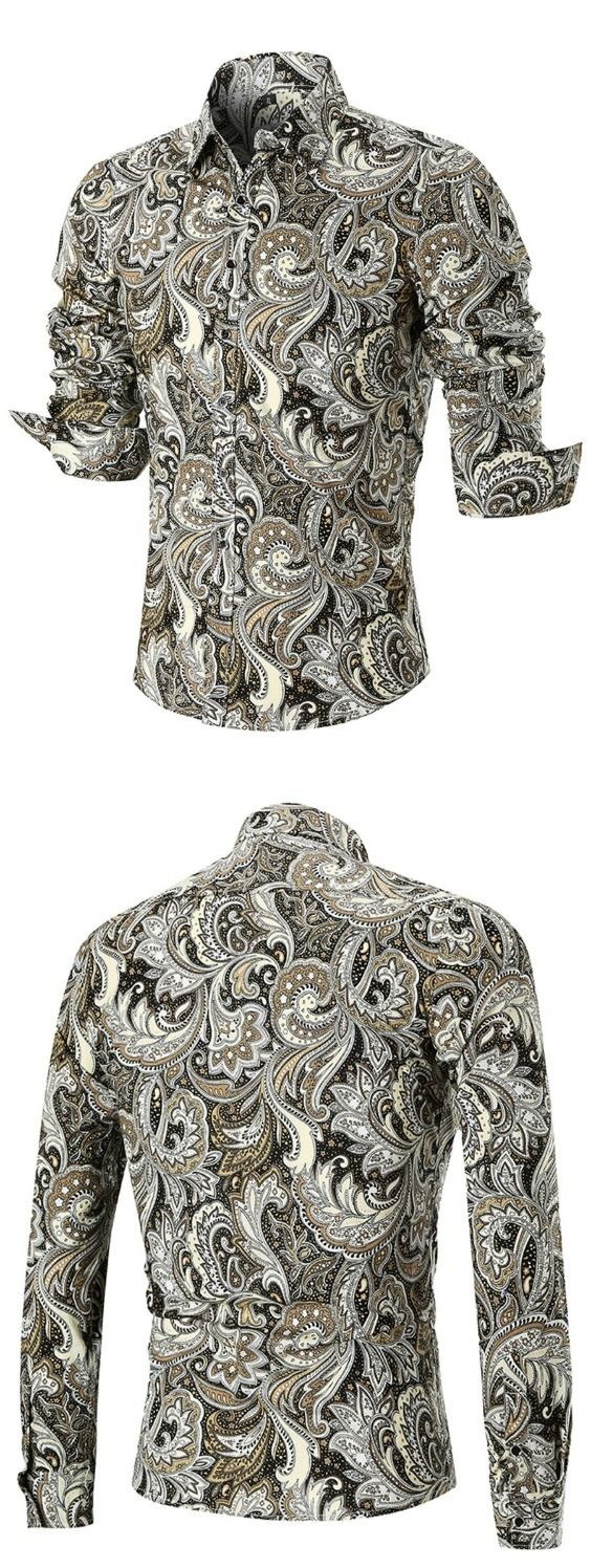 Curved Hem Paisley Print Long Sleeve Shirt
