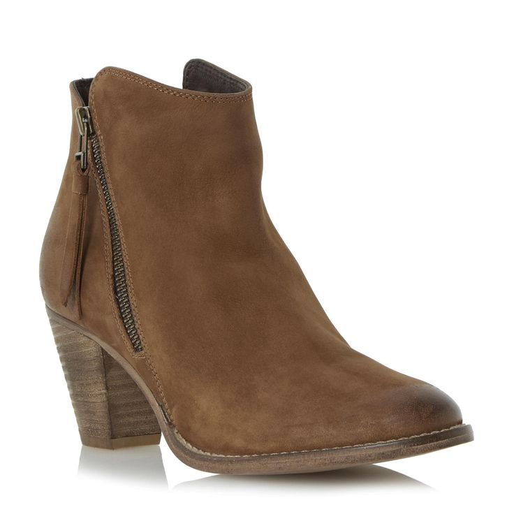 dune pollie western style heeled leather ankle