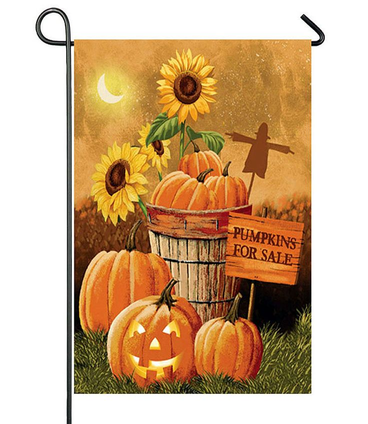Evergreen Enterprises 2 Different Sided Garden Flag Pumpkin Patch for Sale MPN: 14s3100fb CONDITION: New SIZE: 12.5 x 18 in MATERIAL: polyester suede Weather and fade resistant. 18 in x 12.5 in double
