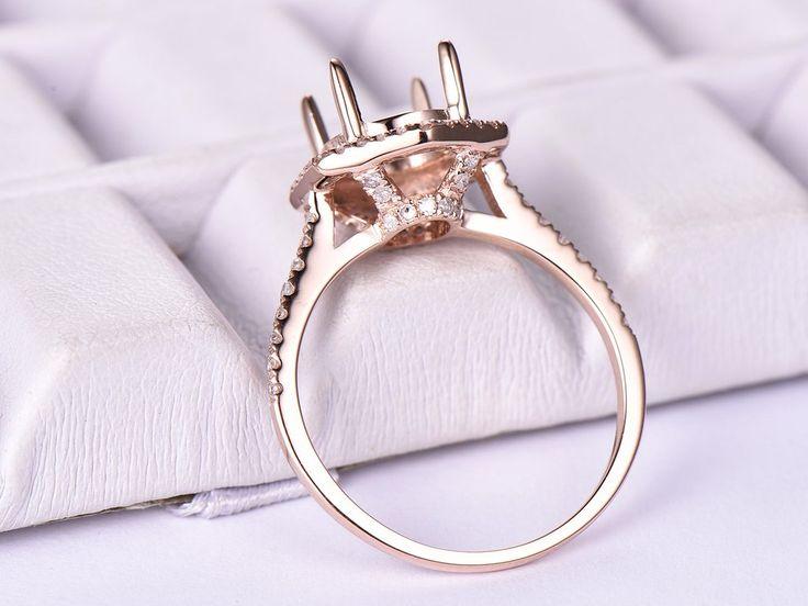 Diamond Engagement Semi Mount Ring 14K Rose Gold Round 7x9mm