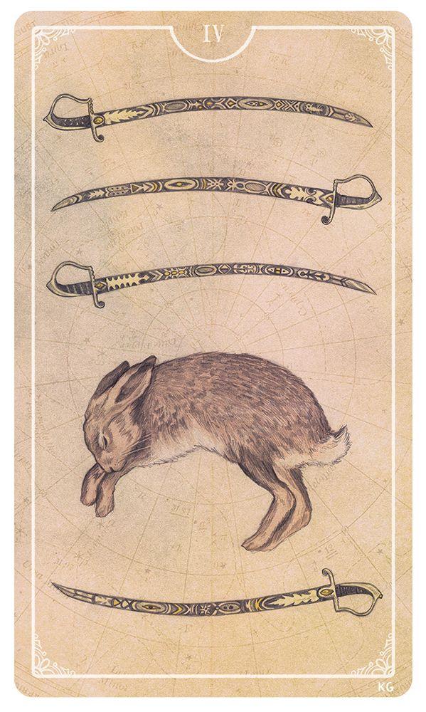 Four of Swords Illustration by Krista Gibbard | Tarot Deck Art | Swords Suit | Rabbit Symbol | Pips | Divination