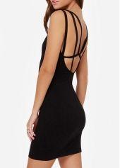 Chic Black Cutout Pattern Square Neck Mini Dress