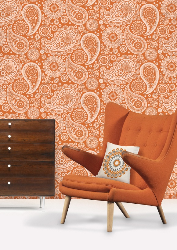 Paisley_Crescent_Tangerine  https://www.facebook.com/ThreeLittlePigsColourAndDesign #orange #chairs #wallpaper