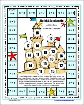 Please enjoy the Build A Sandcastle Addition Board Game by Games 4 Learning. This math board game practices addition up to 9+9.