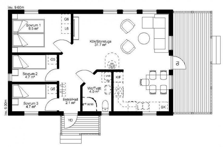 3 sovrum och 1 badrum. Flexibel planlösning. Mer än hälften av boytan upptas av det kombinerade köket/storstugan. Utrustad med takad altan och farstukvist!