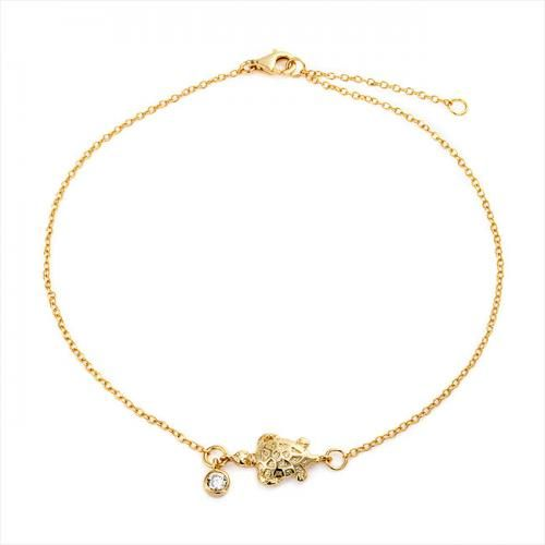 Nautical Turtle Ankle Bracelet Gold Vermeil CZ Charm 925 Silver 9in