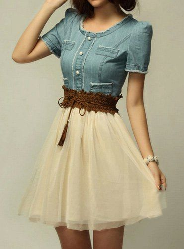 Elegant Women's Scoop Neck Short Sleeve Denim Splicing Chiffon Dress With Belt