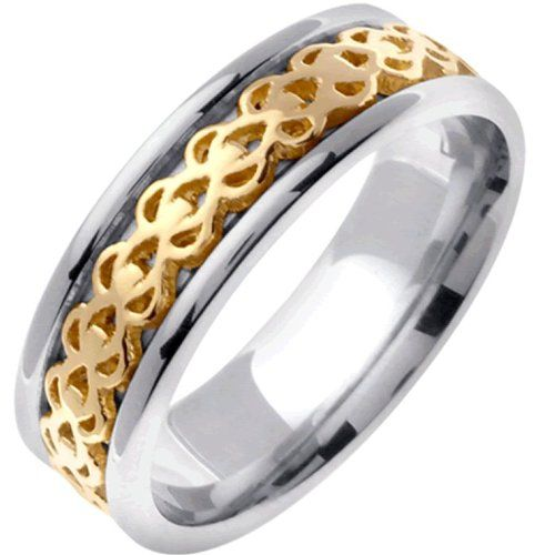 14K Two Tone Gold Women's Celtic Infinity Knot Wedding Band (7mm) Size-4.5 Made with solid 14K Gold alloy which contains 58.5% pure gold and tested before they are shipped. Made in the U.S.A.- Designed and hand crafted by the best jeweller in California. The actual ring may vary slightly from the image, since each ring is individually made. An excellent celtic Wedding Band covered by a lifetime wa... #L.A.Wedding #Jewelry