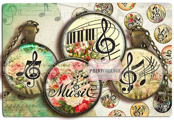Music Key images Digital Collage Sheet Cabochon by PrintCollage