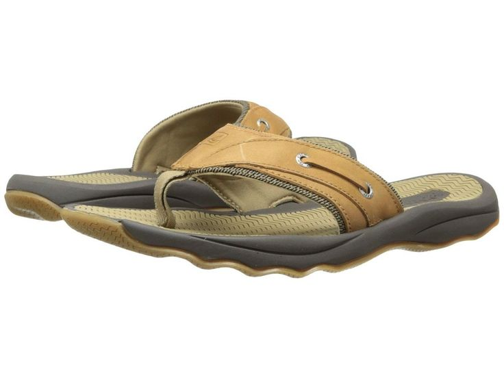 Sperry Top Sider Men Outer Banks Size 9 Thong Sandals Grain Leather 1049667 Tan #SperryTopSider #ThongSandals