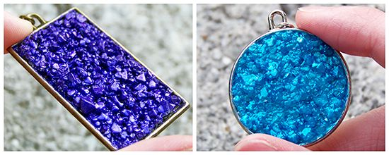 Grow your own crystals to make these. Probably a lot cheaper than buy a new color of bead chips every time