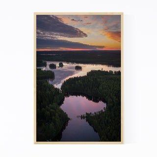Noir Gallery Finland Lake Landscape Nature Framed Art Print (24 x 36 – White)