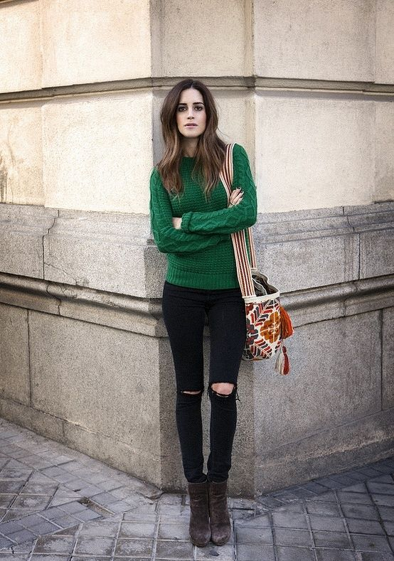 Long boots sweater with black jeans