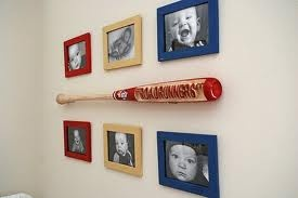 I could put all his baseball pictures in a frame in his room like that