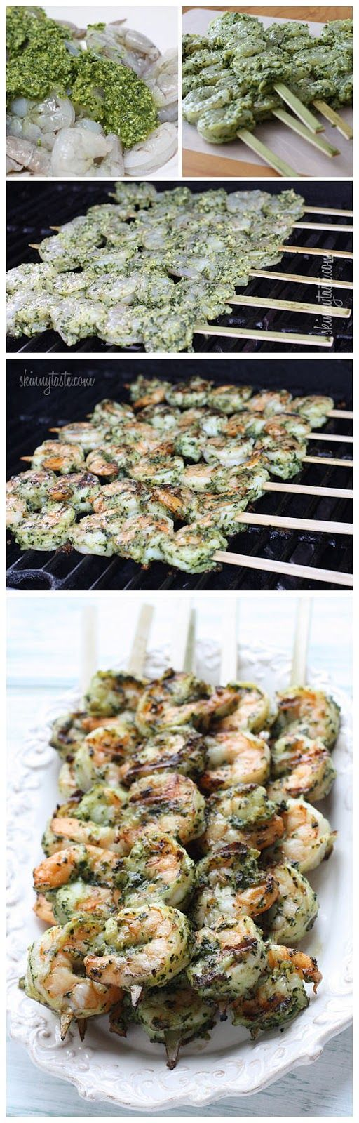 ***** Grilled Pesto Shrimp Skewers.  Make your own Pesto it's so easy and tastes so good!  2013