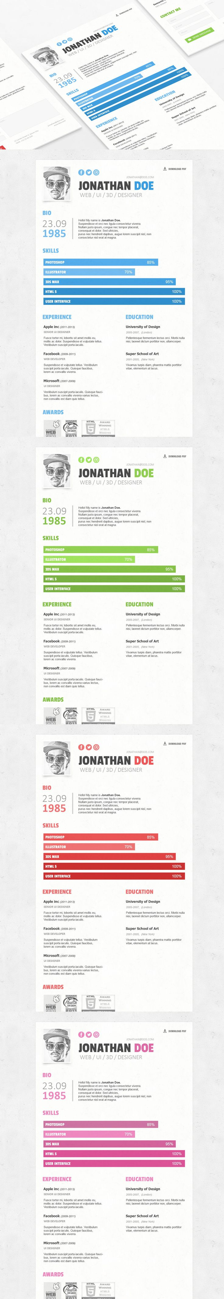 simple resume cv template psd