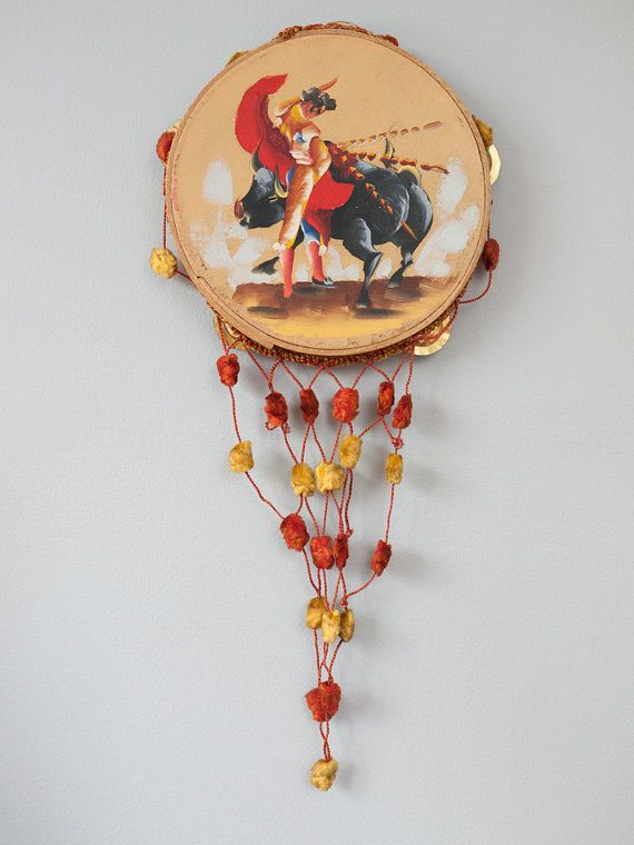 Vintage Spanish hand painted tambourine with by freshdarling