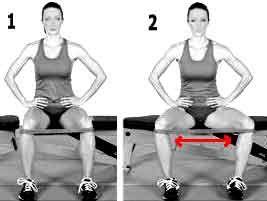 exercice d'abduction pour les fesses avec une élastique de fitness