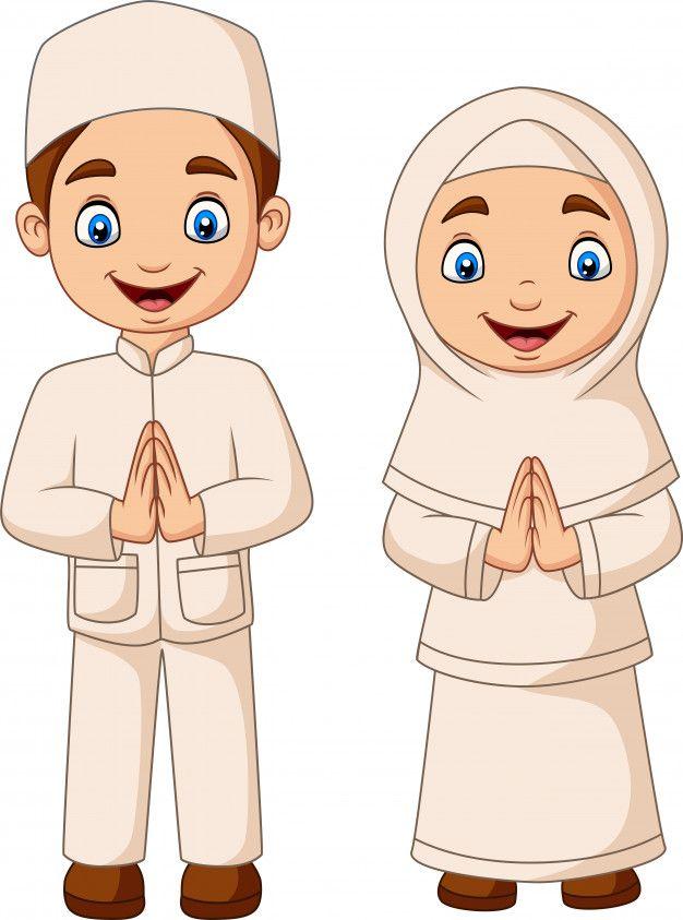 Happy Muslim Kid Cartoon On White Background Muslim Kids Islamic Cartoon Cartoon Kids