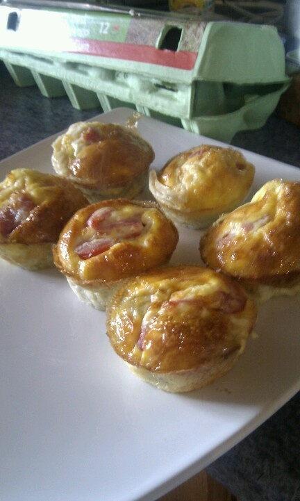 Syn free breakfast muffins! Chopped bacon, mushrooms - dry fry, add to beaten seasoned eggs and quark. Pour into muffin tin, sliced tom on top. Bake in oven until golden and set. Can be served with beans. Use as snacks from fridge.