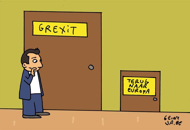 #Cartoon 09/07: Tsipras beseft dat Grexit voor de deur staat