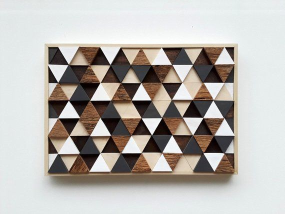 This Rustic Wood Wall Art Sculpture Is Made From A Mix Of Painted And Stained Wooden Triangles And Reclai Wood Wall Art Reclaimed Wall Art Rustic Wood Wall Art