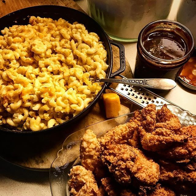 Mac N Cheese Chicken Tenders and Homemade BBQ Sauce in