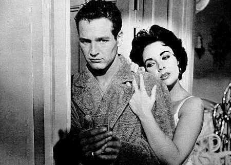 """Elizabeth Taylor e Paul Newman em  """"Gata em Teto de Zinco Quente"""" (1958)   Cat on a Hot Tin Roof (original title)  Direção: Richard Brooks"""