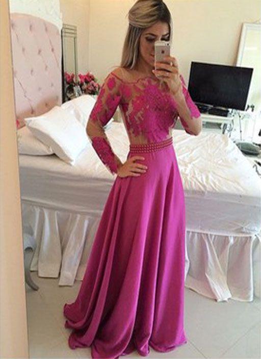 Pd271 Long Sleeve Prom Dress,A-Line Prom Dress,Appliques Prom Dress,Sexy Prom Dress